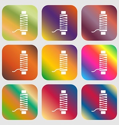 Thread Icon sign Nine buttons with bright vector