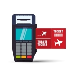 Ticket travel airplane dataphone payment vector
