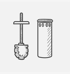 toilet brush hand drawn sketch icon vector image