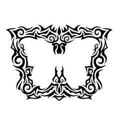 Tribal tattoo pattern around white butterfly vector
