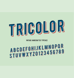 tricolor vintage handcrafted 3d alphabet vector image