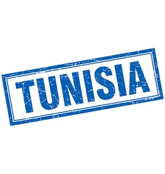 Tunisia blue square grunge stamp on white vector