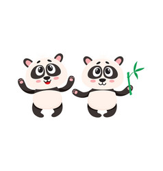 Two cute happy baby panda characters with paws vector