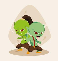Ugly fairytale trolls avatar character vector