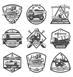 Vintage monochrome construction labels set vector