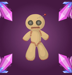 Voodoo doll flat icon punishment sign spirituality vector