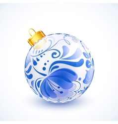 White christmas ball with blue floral ornament vector image