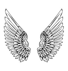 wings in tattoo style isolated on white vector image