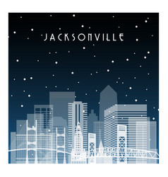 winter night in jacksonville night city vector image