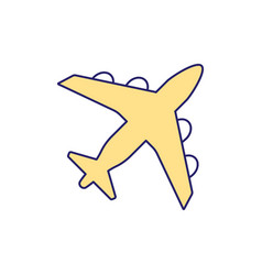 yellow airplane rgb color icon vector image