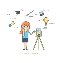Young redhair girl using a tablet pc and drawing vector image