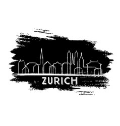 zurich switzerland city skyline silhouette hand vector image