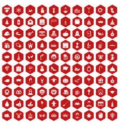100 holidays icons hexagon red vector image