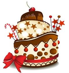 Big chocolate cake vector image vector image