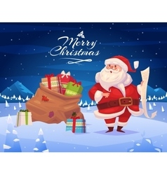 Funny santa Christmas greeting card background vector image vector image