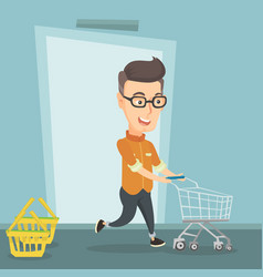 Male customer running into the shop with trolley vector