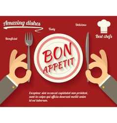 Restaurant Promotion concept Symbol Hands Cutlery vector image vector image