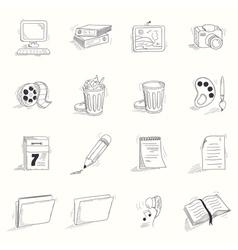 Sketch style desktop icons set vector image vector image