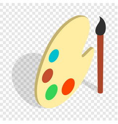 Art palette with paints and brush isometric icon vector