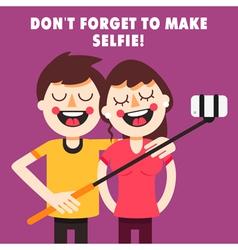 Couple taking selfie vector image vector image