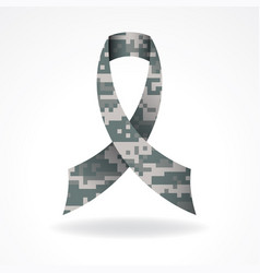 digital camo military support ribbon vector image vector image