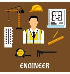 Engineer and construction flat icons vector