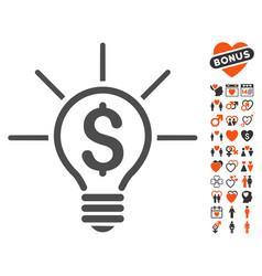 Financial idea bulb icon with dating bonus vector