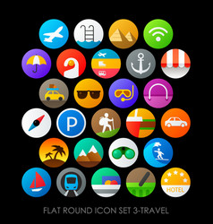 flat round icon set 3-travel vector image vector image
