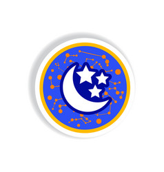 stylish icon in paper sticker style moon and stars vector image vector image