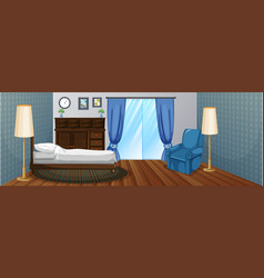 bedroom with wooden furniture and blue armchair vector image vector image