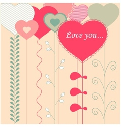 Card with decorative hearts vector image vector image