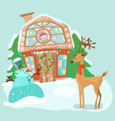 cute house with snowman and deer vector image