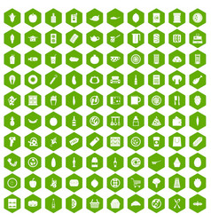 100 lunch icons hexagon green vector