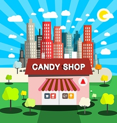 Candy Shop Flat Design with City on Backgrou vector image vector image