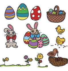 easter elements hand drawn vector image vector image