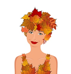elegant autumn girl vector image