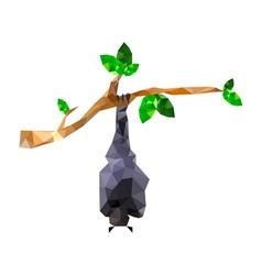 Origami bat hanging on branch vector