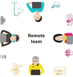 People working on laptops frame vector image vector image