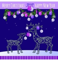 Reindeer family with Christmas balls and garland vector image vector image