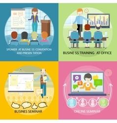 Set of banner seminar training business vector