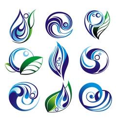 set of water elements vector image vector image