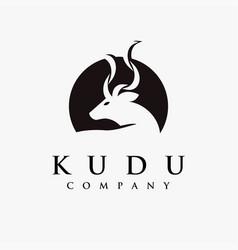 abstract minimalist kudu logo on white background vector image