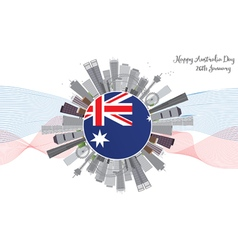 Australia day background with gray buildings vector