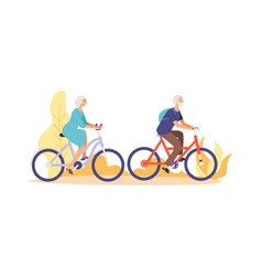 Autumn bike ride concept flat elderly characters vector