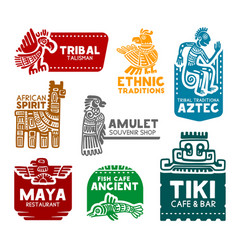 Aztec and mayan symbols corporate identity icons vector