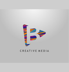 b letter logo play media concept design perfect vector image