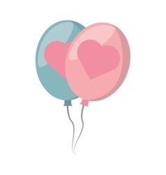 balloons blue and pink with heart design vector image