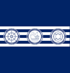 Banner with sea emblems vector