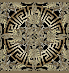 baroque 3d gold seamless pattern greek vector image
