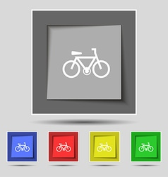 Bicycle icon sign on original five colored buttons vector